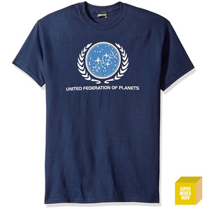 스타트랙 우주연합 로고 Trevco Men's Star Trek United Federation Logo T-Shirt  [반팔티셔츠]