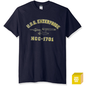 USS 엔터프라이즈 블랙 Trevco Men's Star Trek Enterprise Athletic T-Shirt [반팔티셔츠]