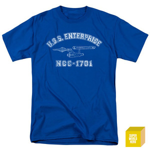 USS 엔터프라이즈 블루 Trevco Men's Star Trek Enterprise Athletic T-Shirt [반팔티셔츠]